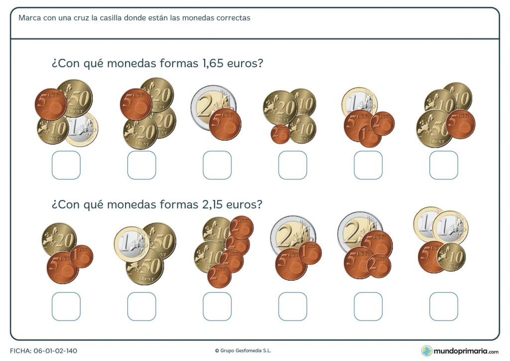 Ficha de sumar monedas con valor total de más de 1 euro