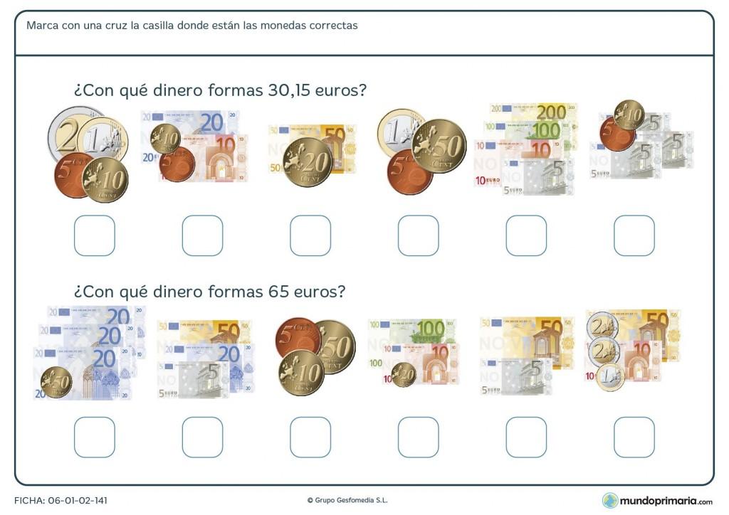 Ficha de sumar billetes y monedas de todas cantidades para 4º Primaria