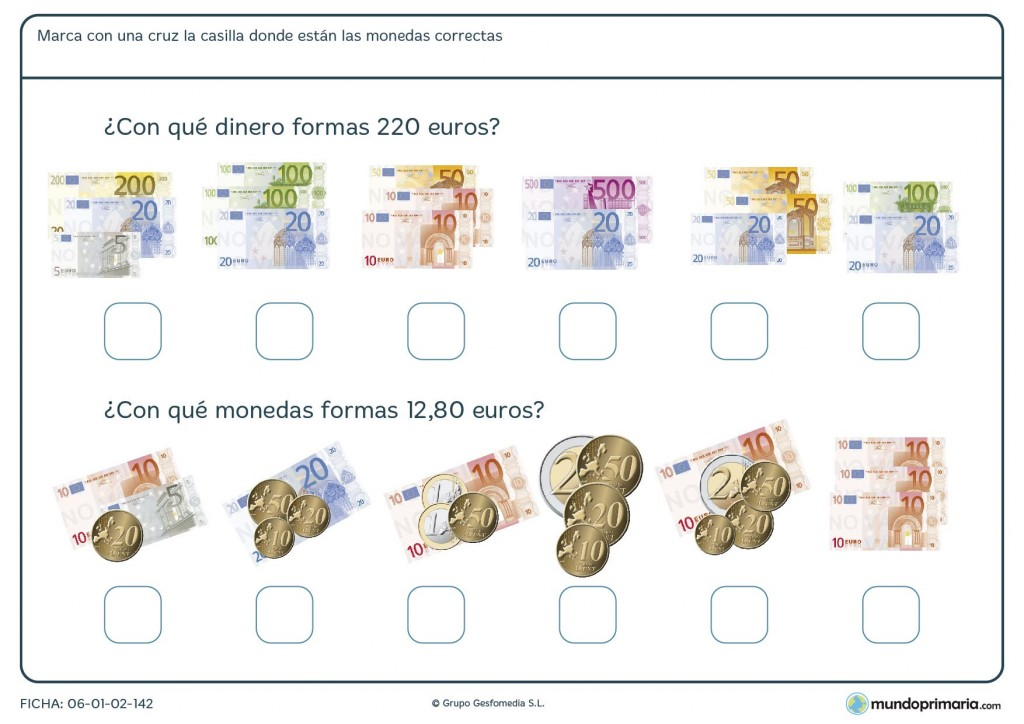 Ficha de sumar dinero de distintas cantidades para Primaria