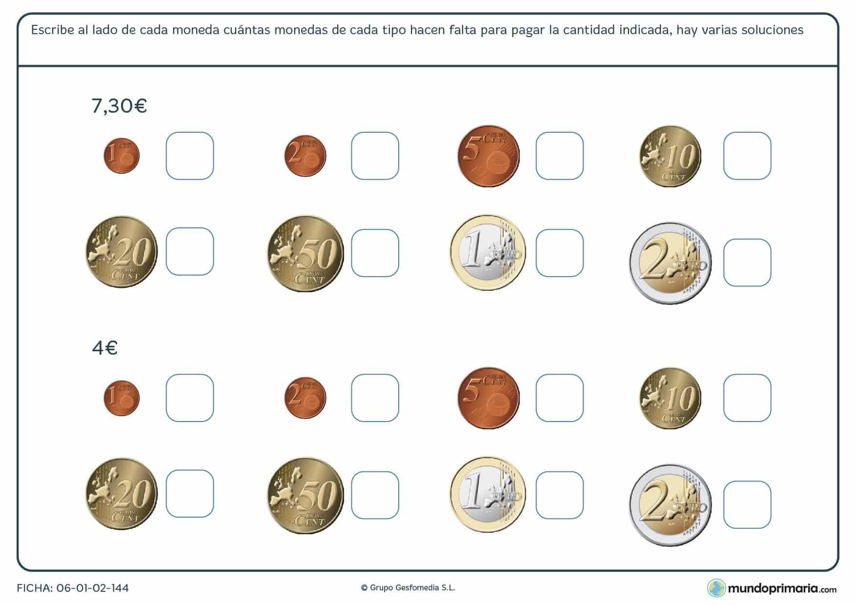 Ficha de monedas para llegar a la cantidad marcada para Primaria
