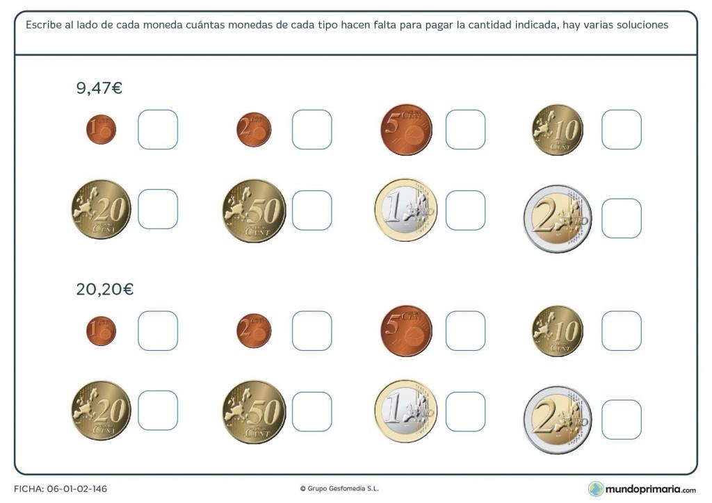 Ficha de numerar la cantidad de euros necesarios para 4º Primaria