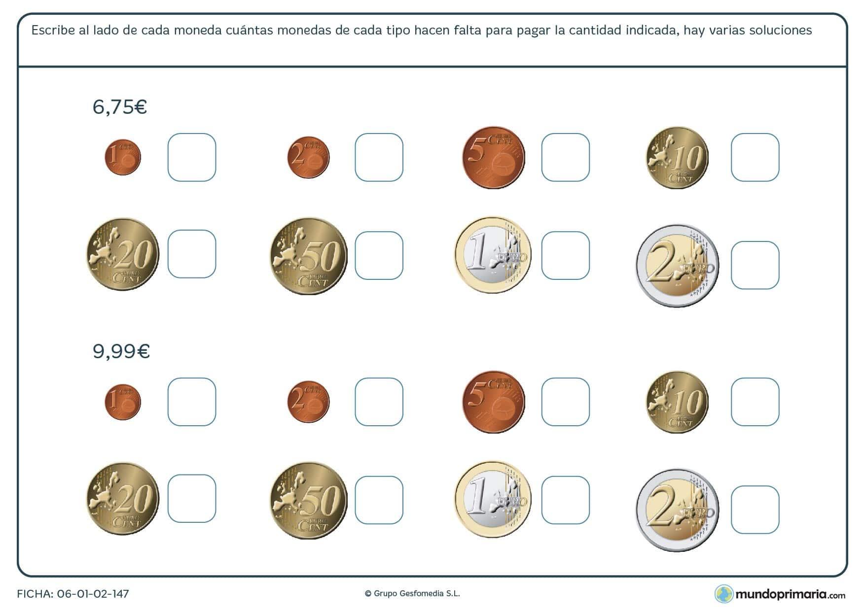 Ficha de sumar euros para alcanzar el dinero necesario para 4º
