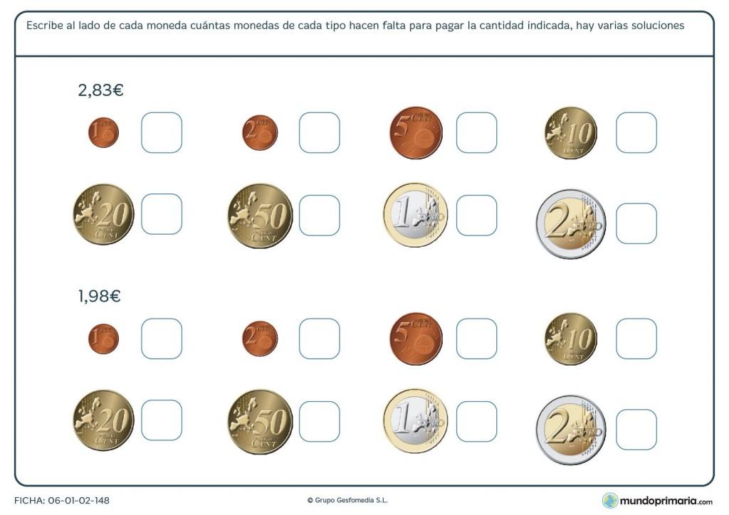 Sumar hasta 3 euros con monedas de todos los tipos para 4º