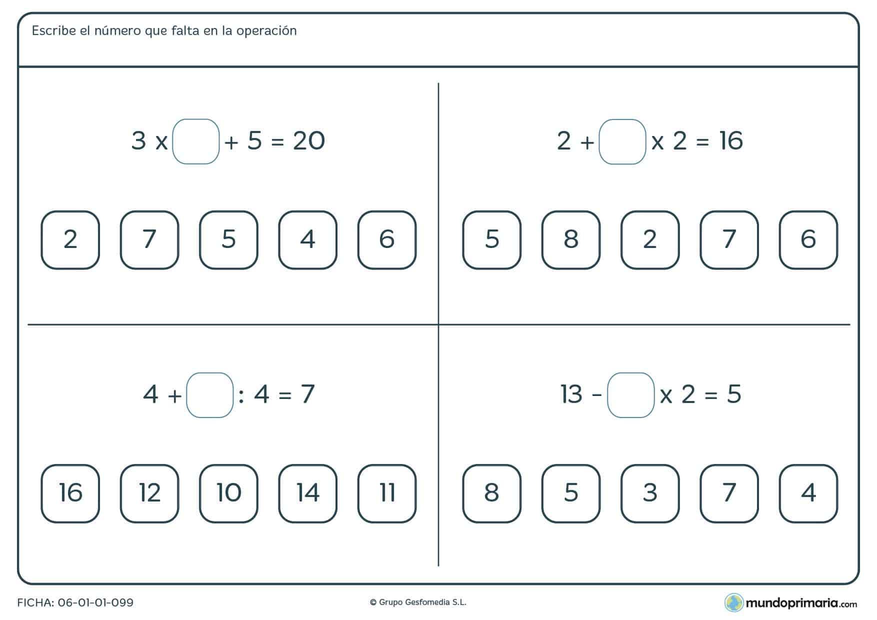 Escoger una de las cifras y realizar ejercicios de matemáticas cuarto