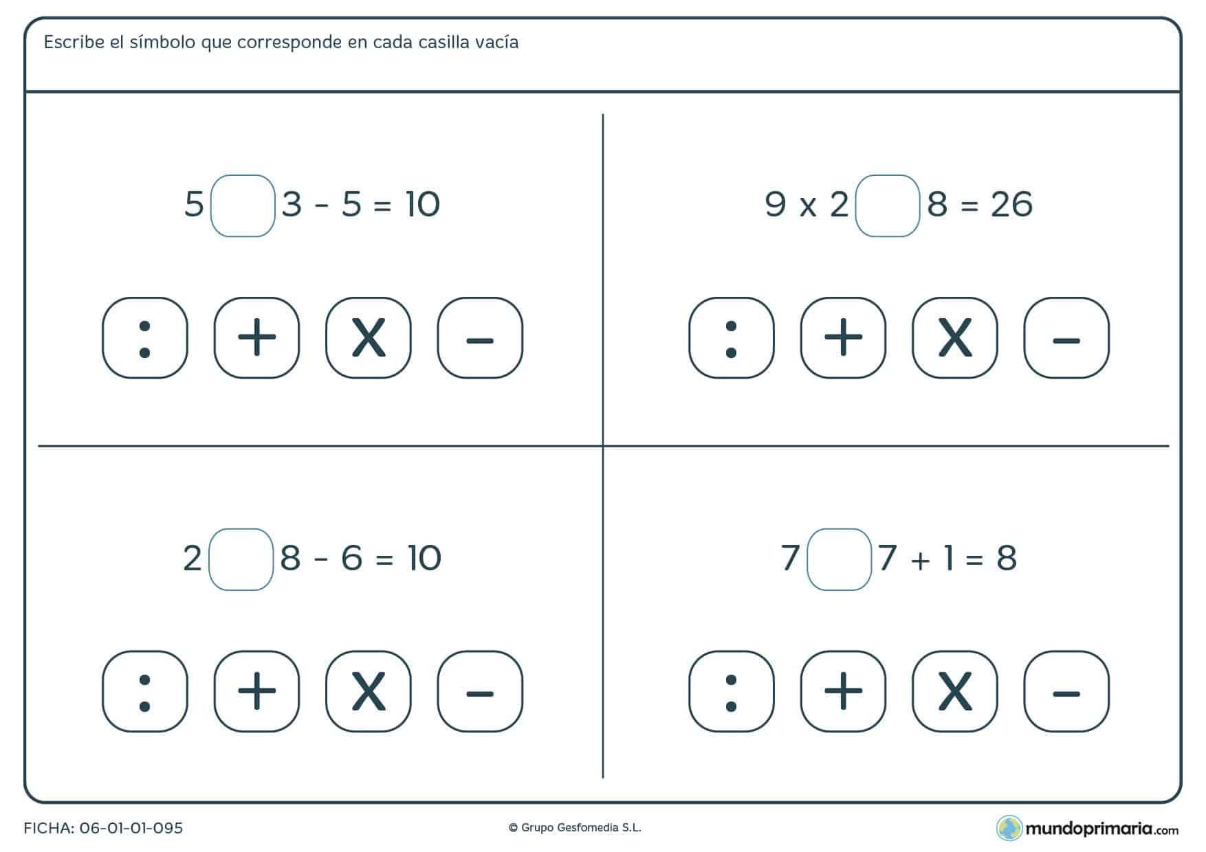 Averiguar si es división, suma, multiplicación o resta para cuarto