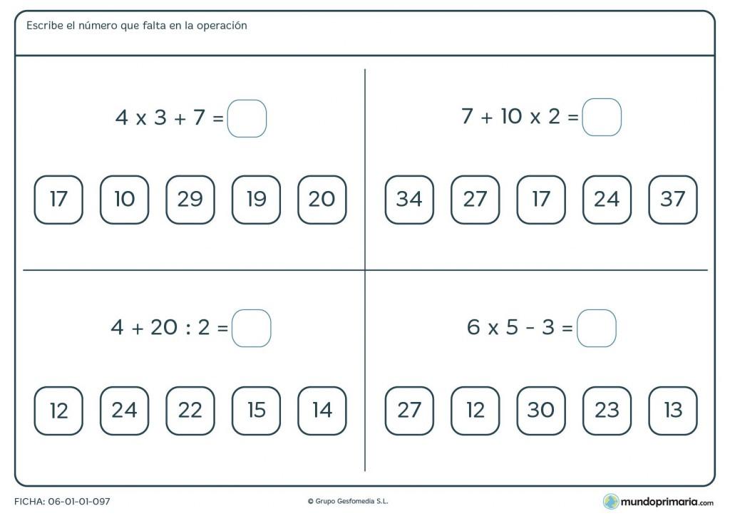 Elegir la solución a cada una de las ecuaciones y marcarla para cuarto
