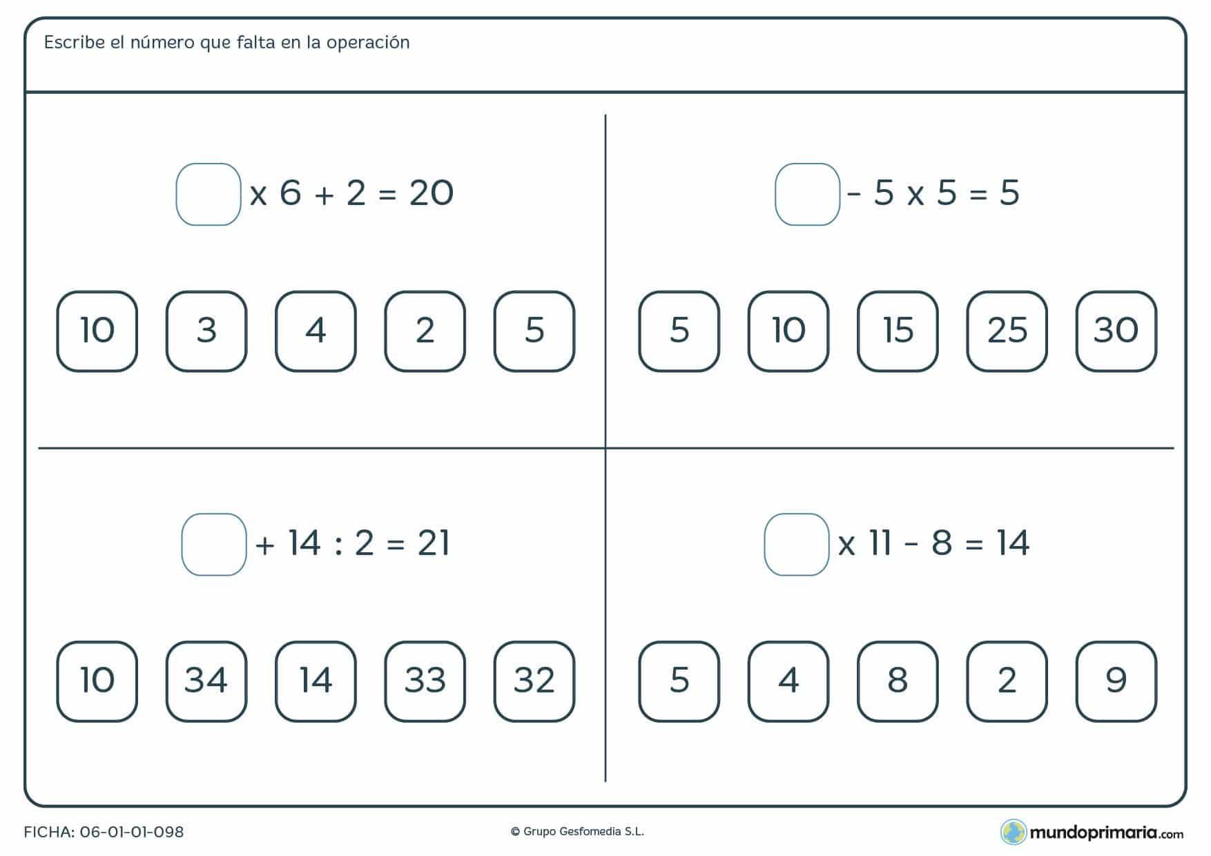 Elegir el número que falta en las operaciones para niños de primaria