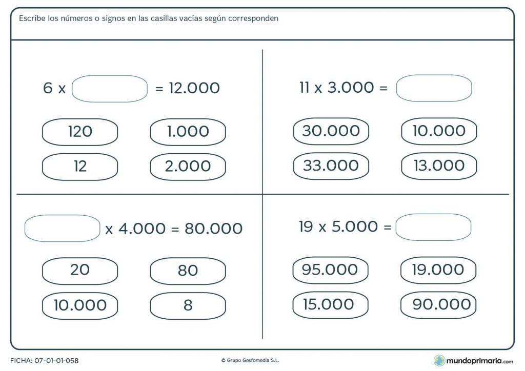 Ficha en la que hay que elegir el resultado de estas multiplicaciones