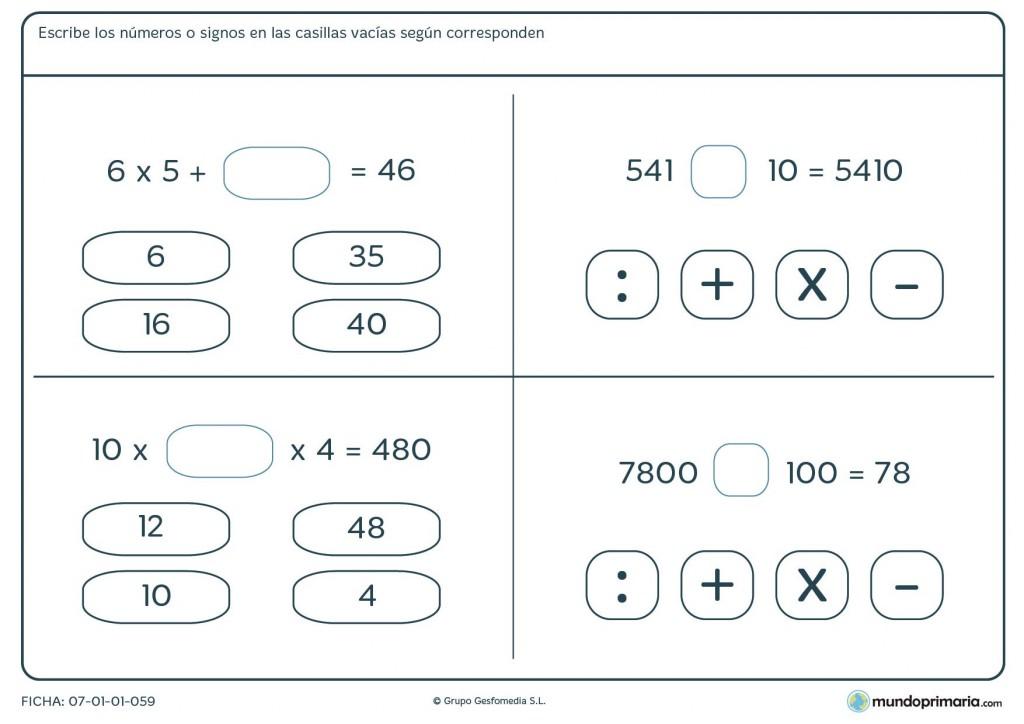 Encuentra los números y signos correctos para terminar las operaciones