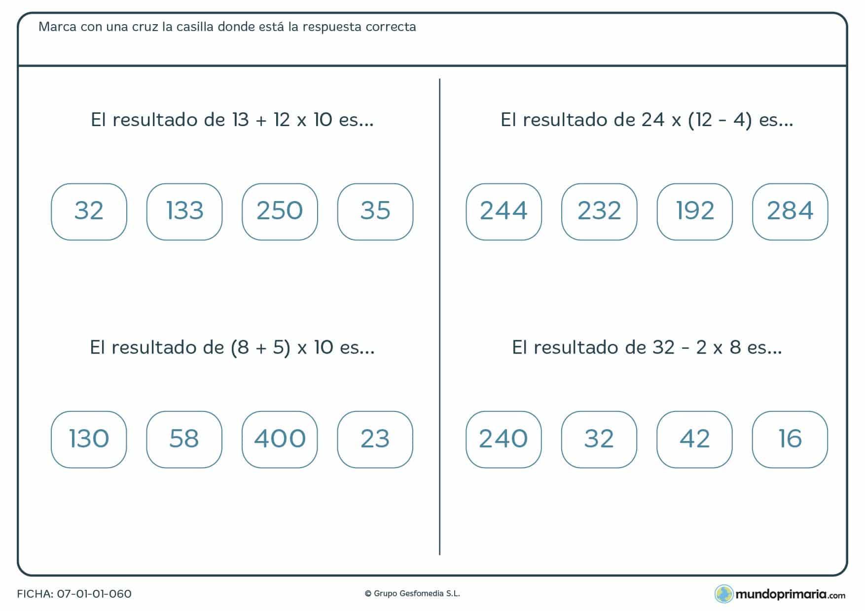 Ficha para elegir los resultados correctos para 5º de Primaria