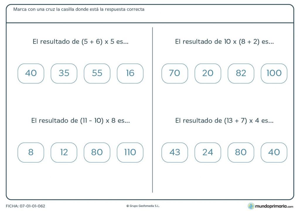 Ficha compuesta de multiplicaciones, sumas y restas para Primaria