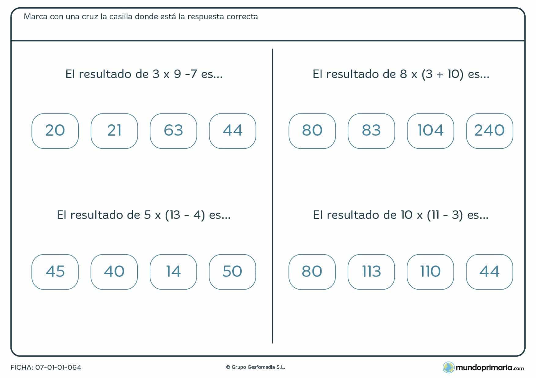 Ficha de varios ejercicios donde hay que encontrar el resultado