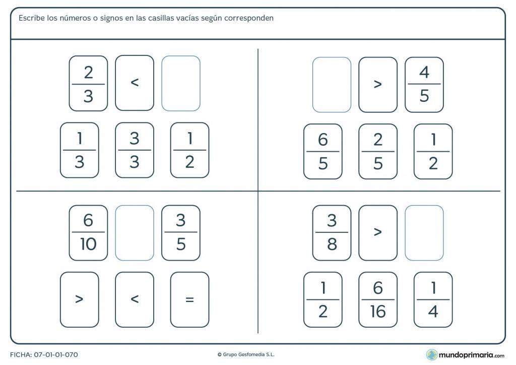 Ficha de escribir los números o signos en las casillas para Primaria