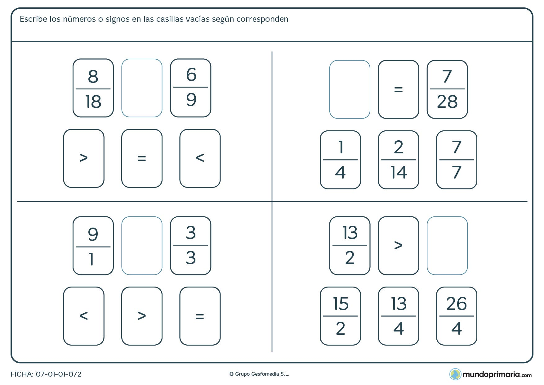 Ficha de colocar el signo para que las fracciones sean precisas