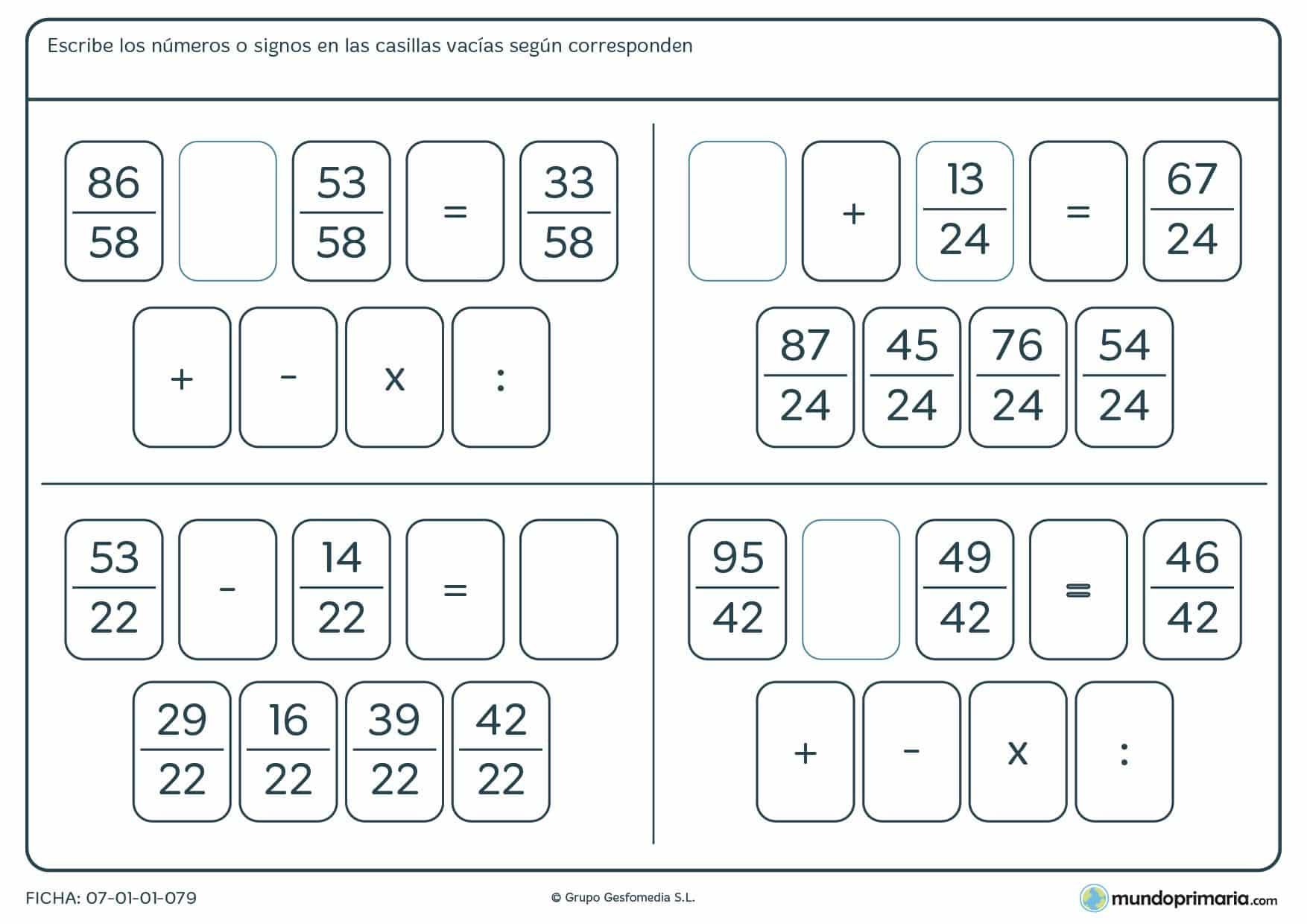Encuentra el resultado para estas operaciones con fracciones de 5º