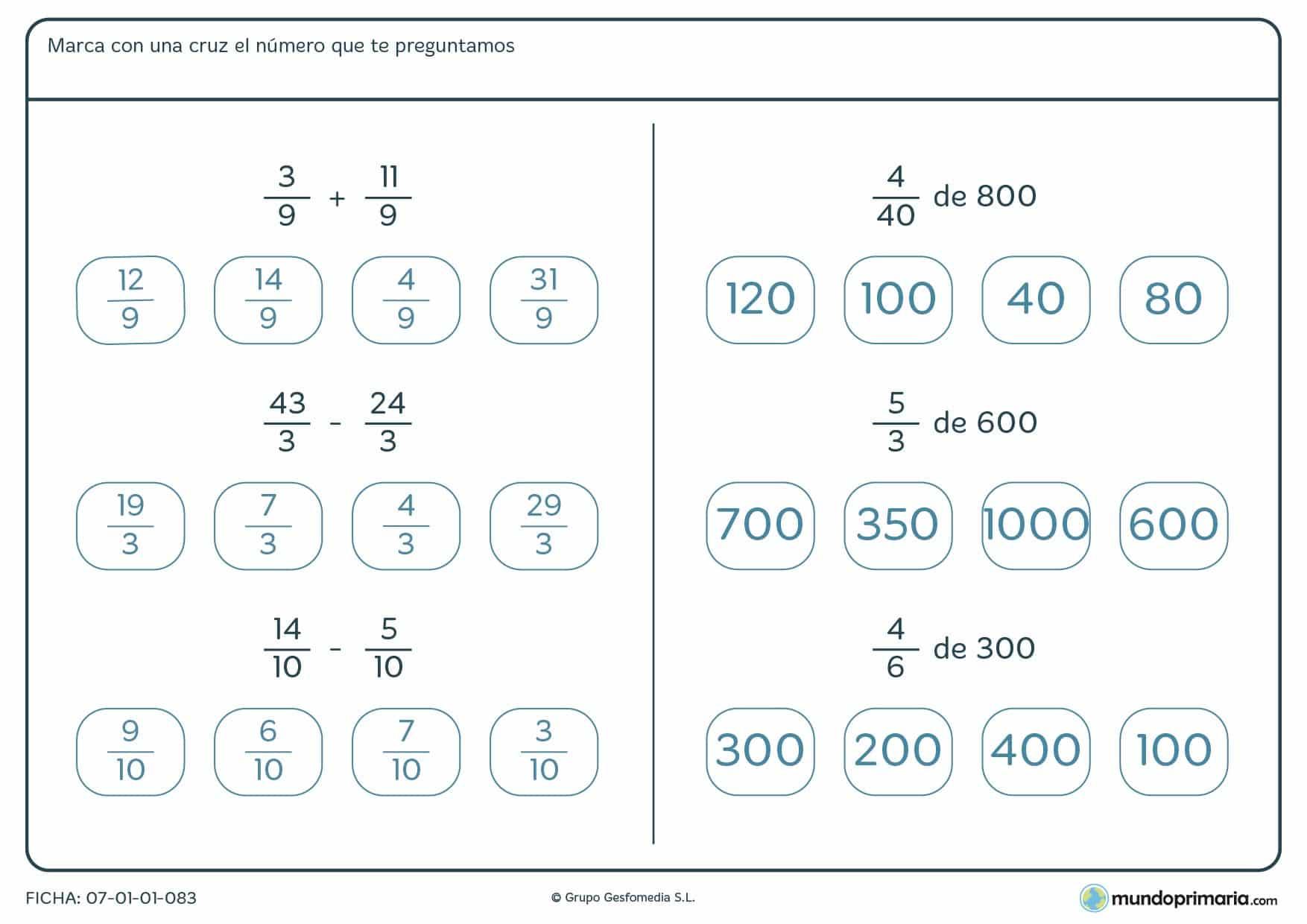 Sumas, restas y fracciones donde hay que marcar el resultado para 5º