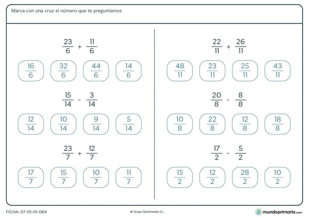 Ficha de responder el número final de los ejercicios con fracciones