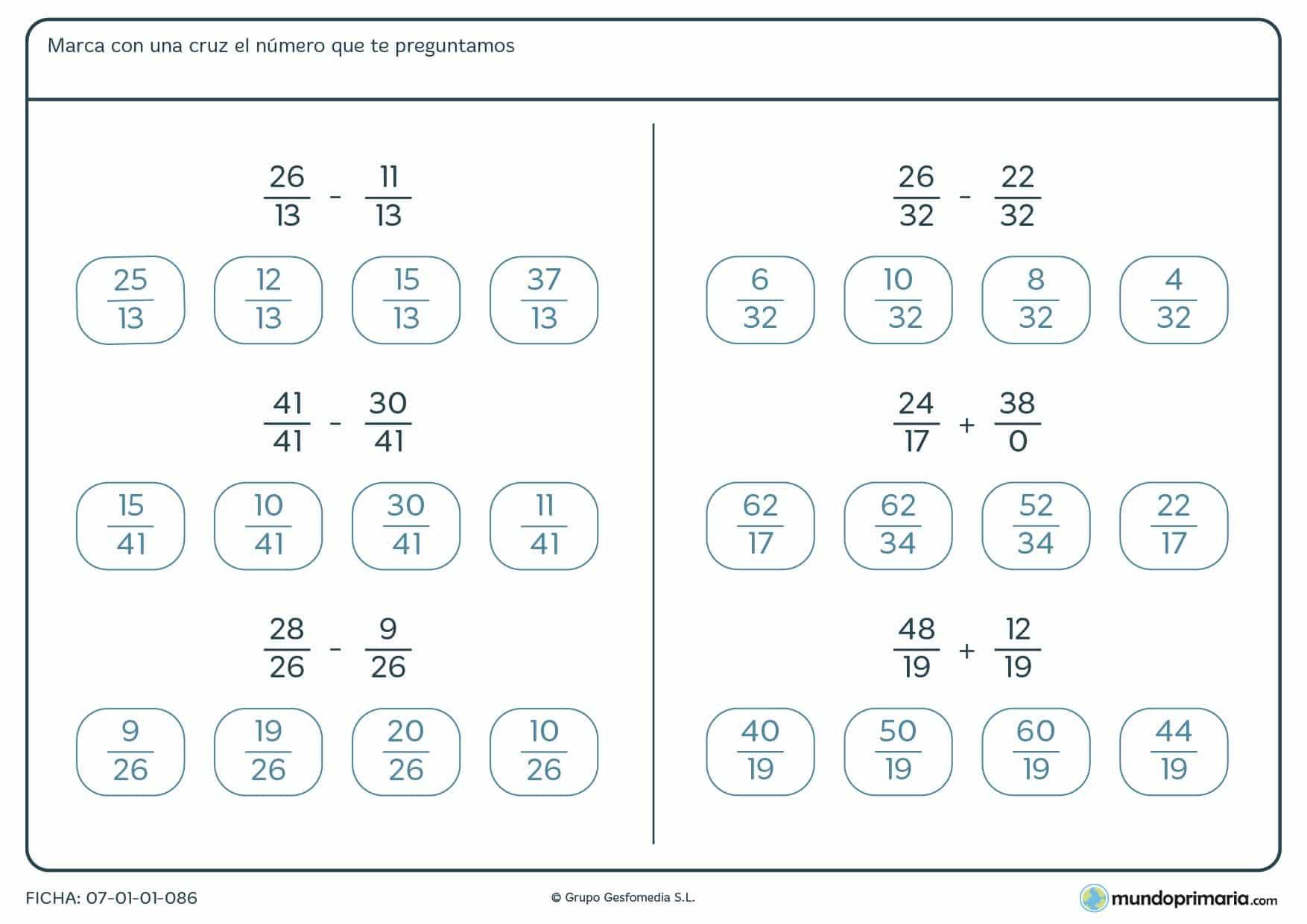 Ficha de restar y sumar diferentes tipos de fracciones para Primaria