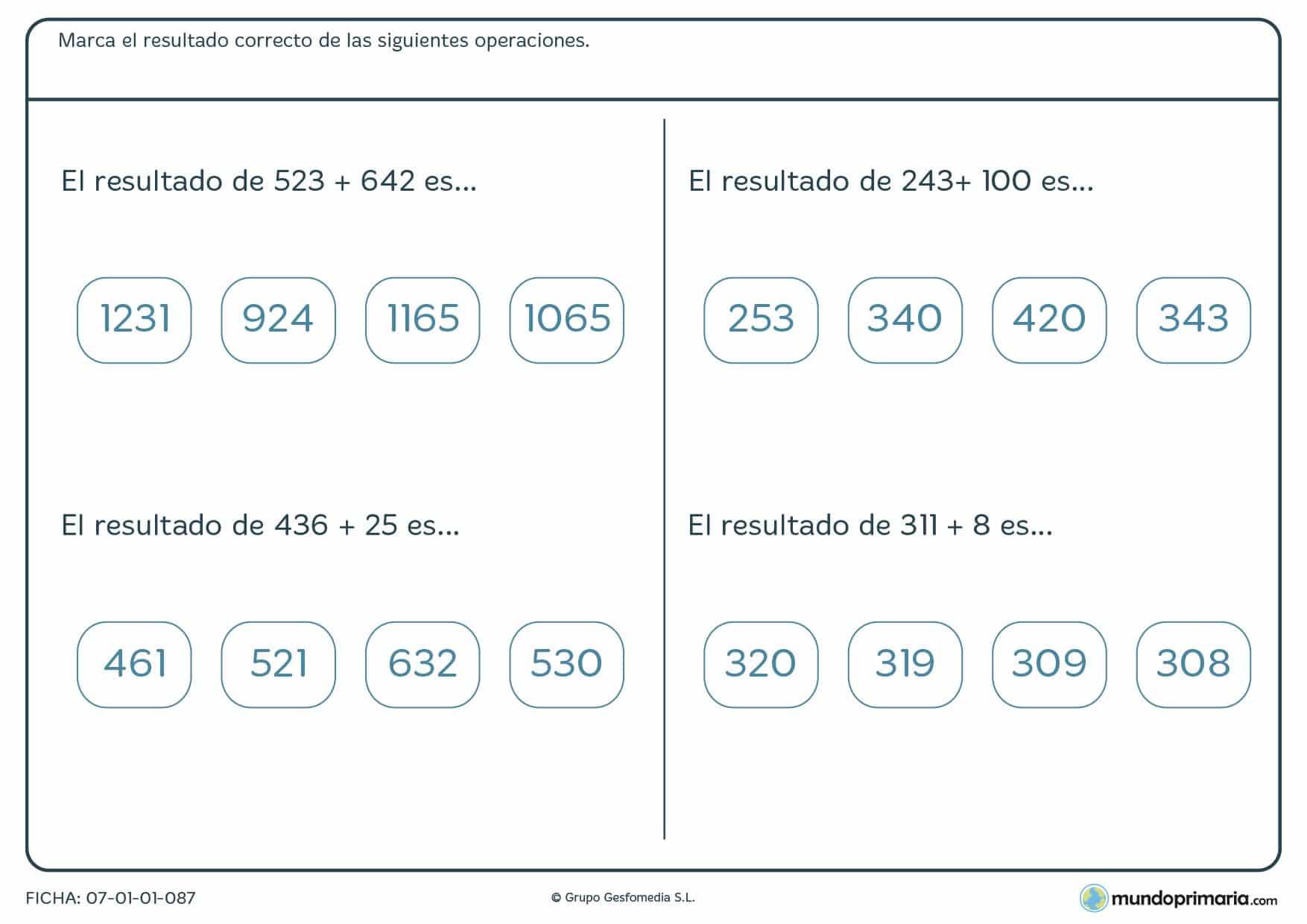 Ficha donde se busca el resultado de números naturales para 5º