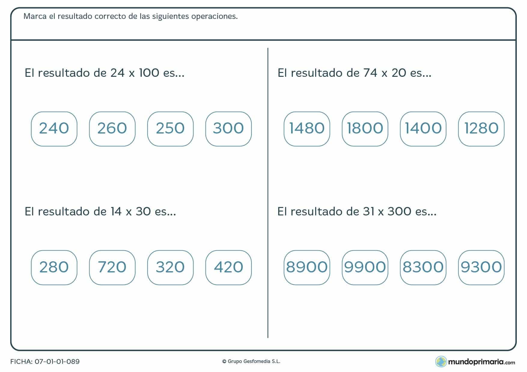 Lámina de multiplicaciones para 5º donde hay que marcar la solución