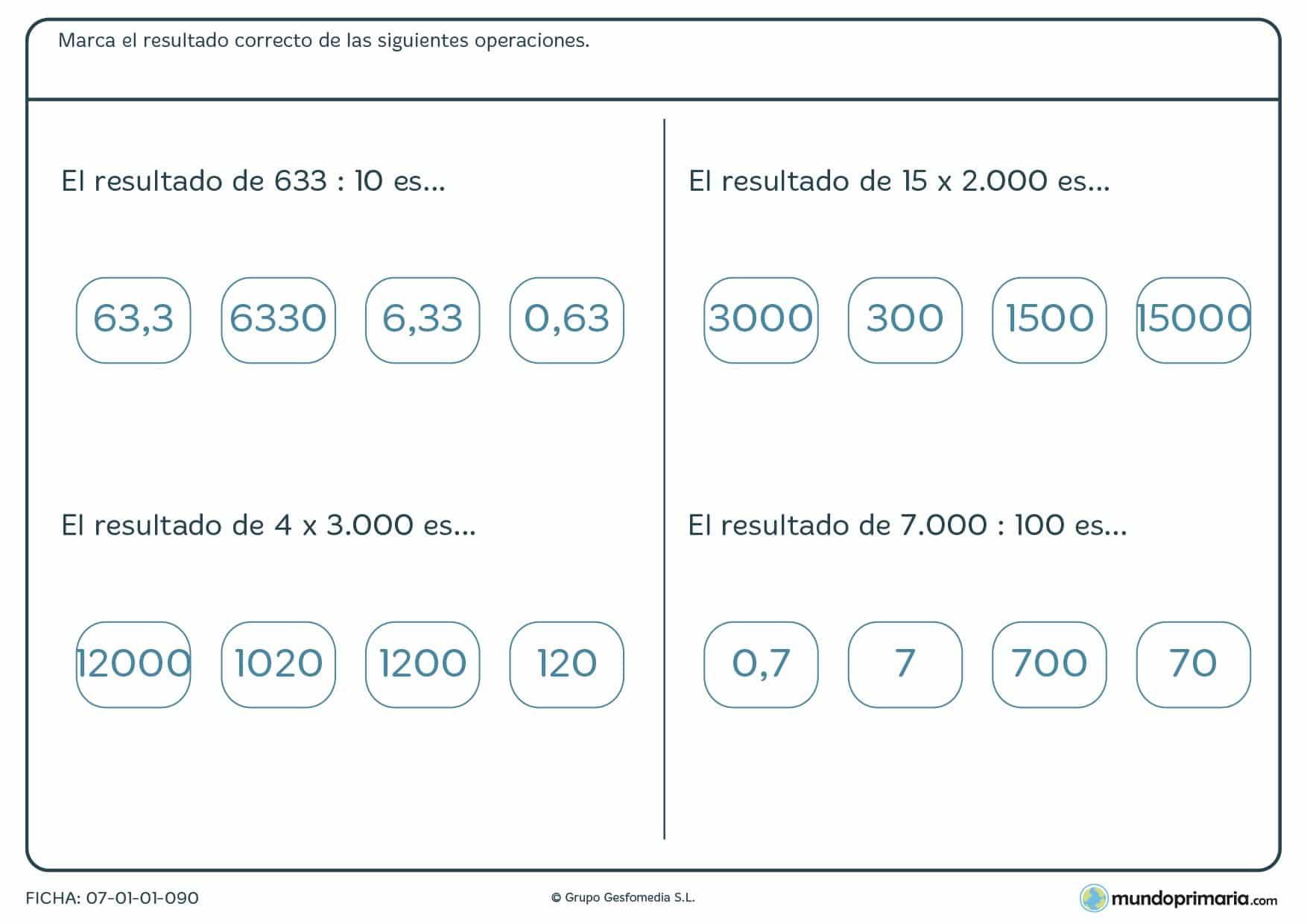 Ficha para colocar distintos resultados a ejercicios de matemáticas