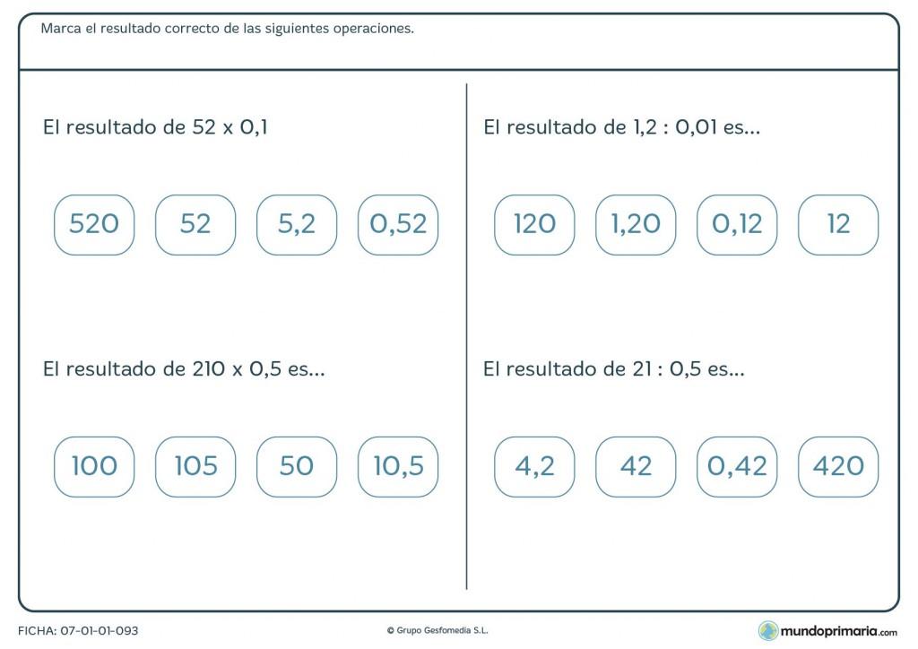 Ficha de mates para Primaria sobre divisiones y multiplicaciones