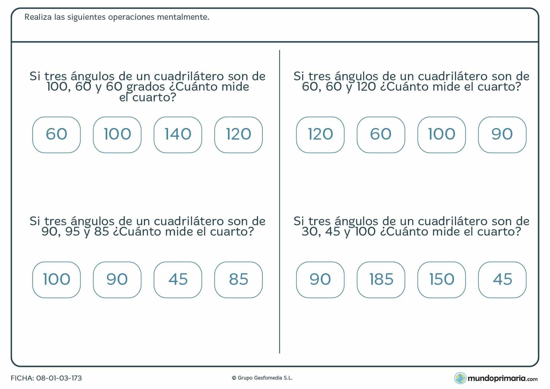 Ficha de calcular los grados de un ángulo para 6º de Primaria