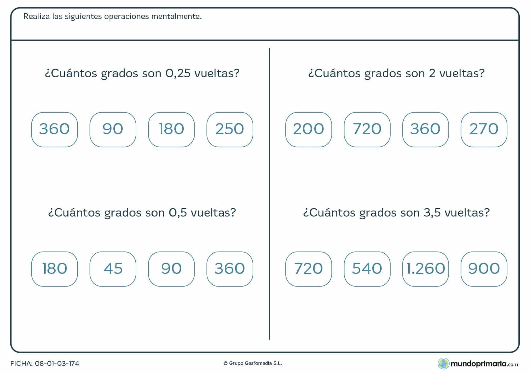 Ficha de averiguar los grados que tienen las vueltas para 6º Primaria