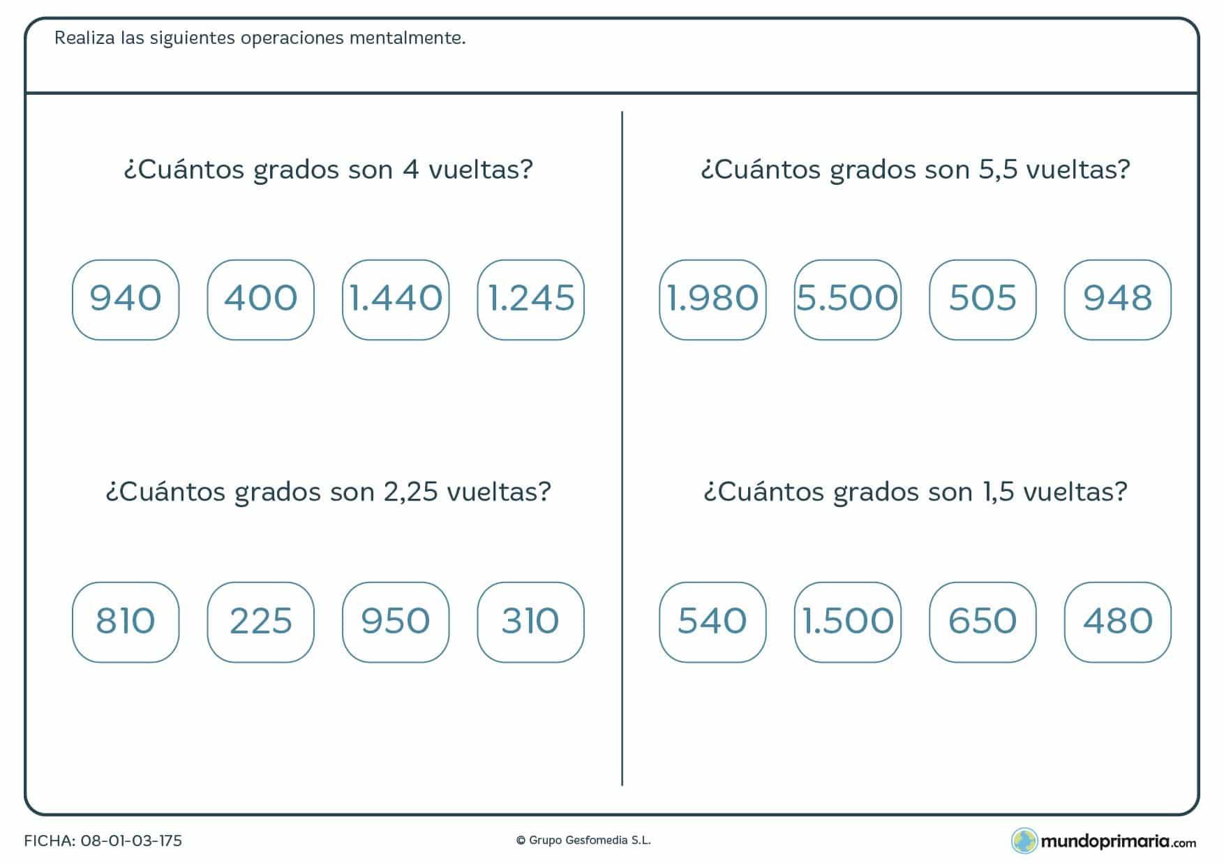 Ficha de operaciones de vueltas y grados matemáticos para Primaria
