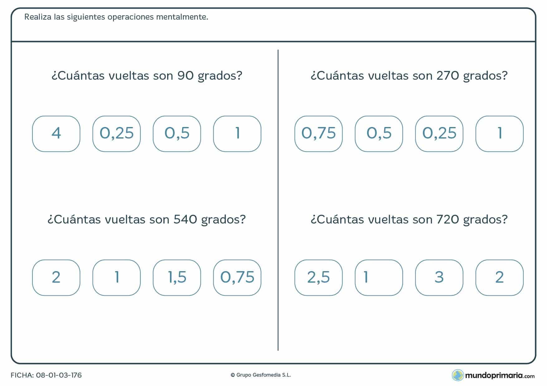 Ficha de grados y vueltas para calcular de 6º Primaria