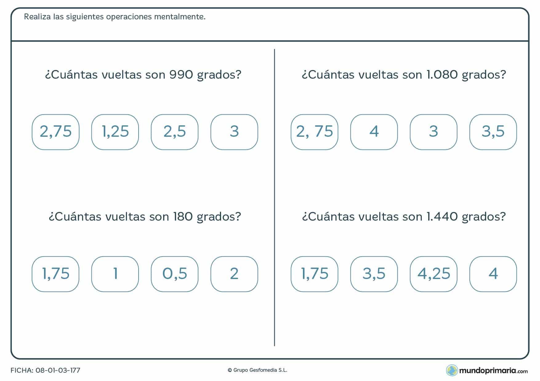 Ficha para medir vueltas con grados matemáticos para 6º de Primaria