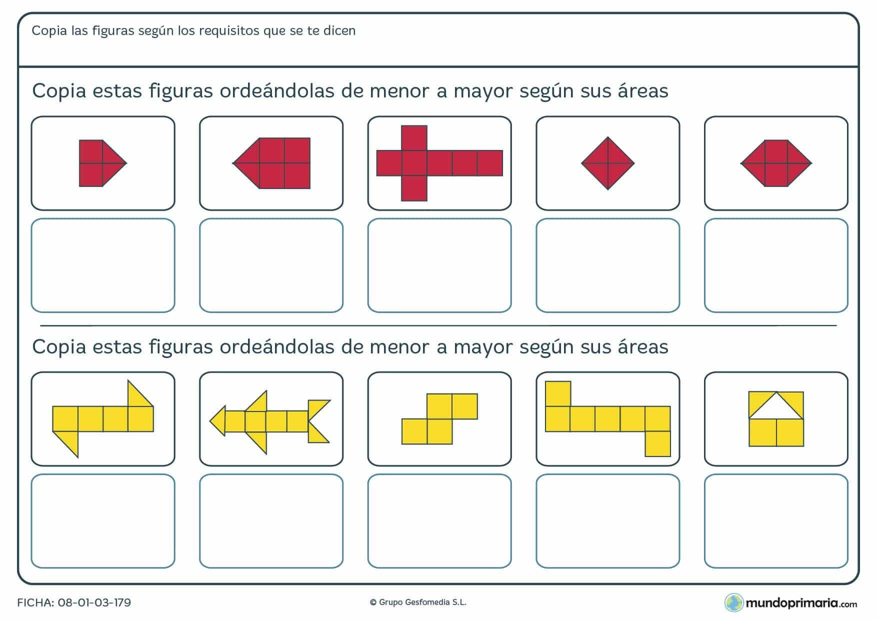Ficha de ordenar y dibujar areas según los cuadrados para Primaria