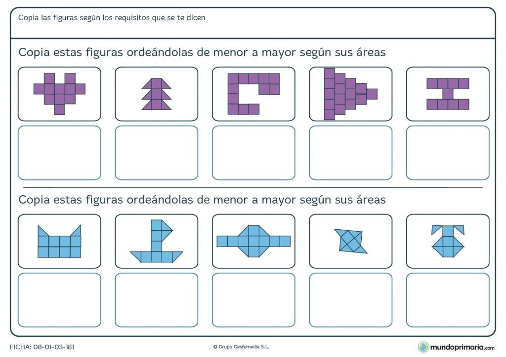 Ficha de copiar areas cuadradas y ordenarlas por tamaño para Primaria