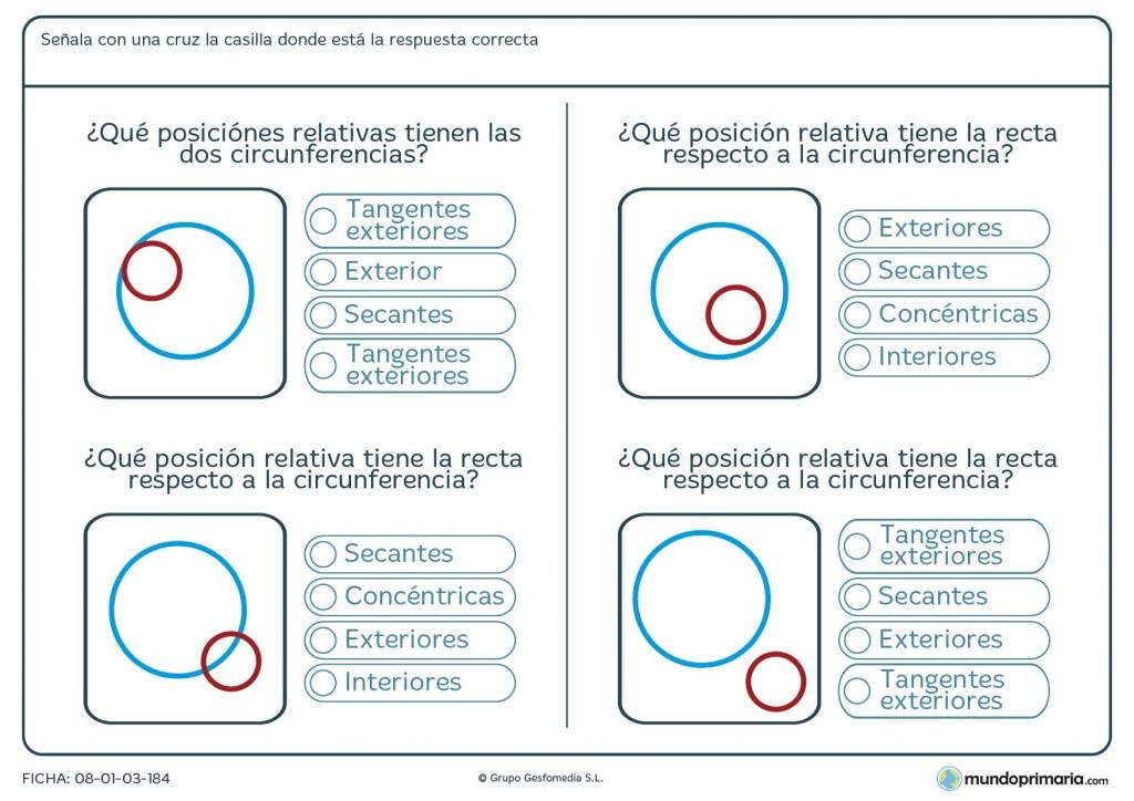 Ficha de posiciones relativas entre circunferencias para Primaria