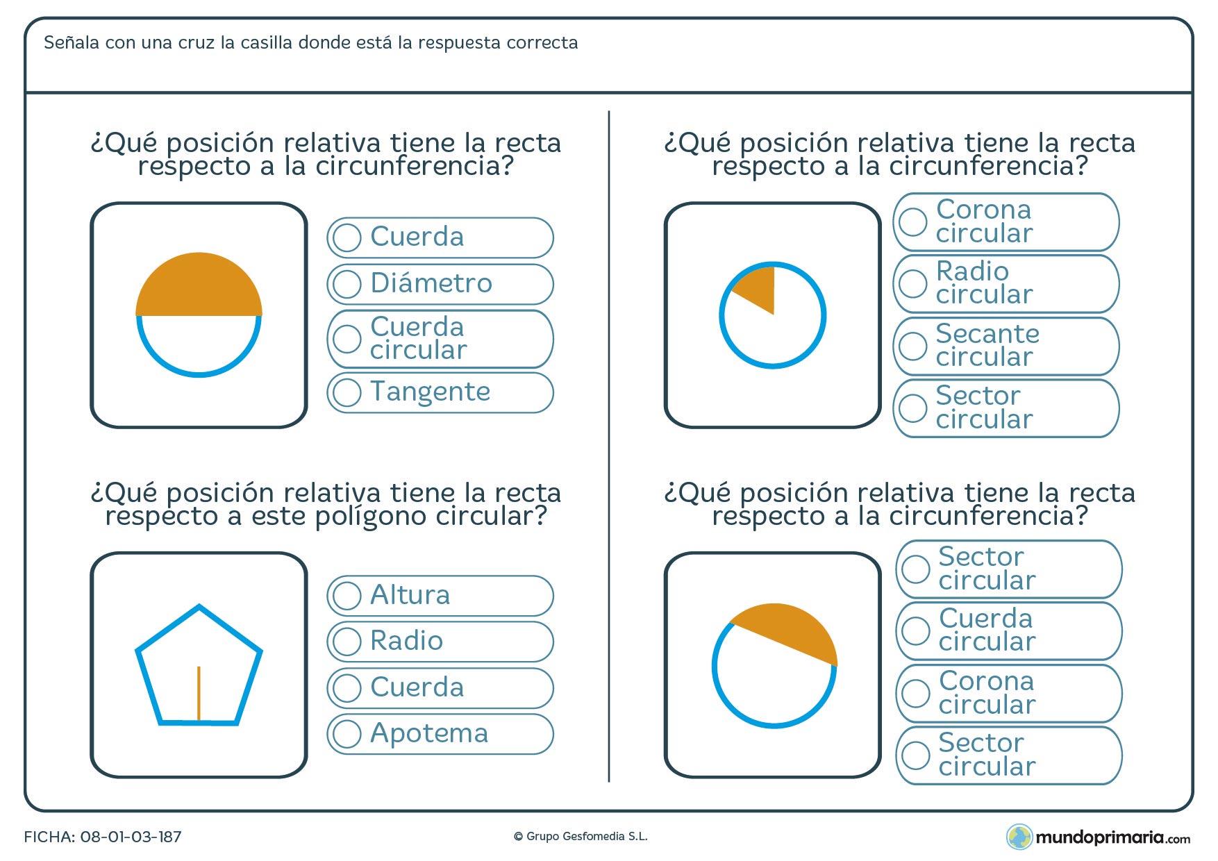 Ficha de posiciones relativas con figuras geométricas para Primaria