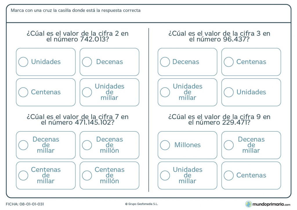 Ficha de valor posicional de números de más de 5 cifras para 6º