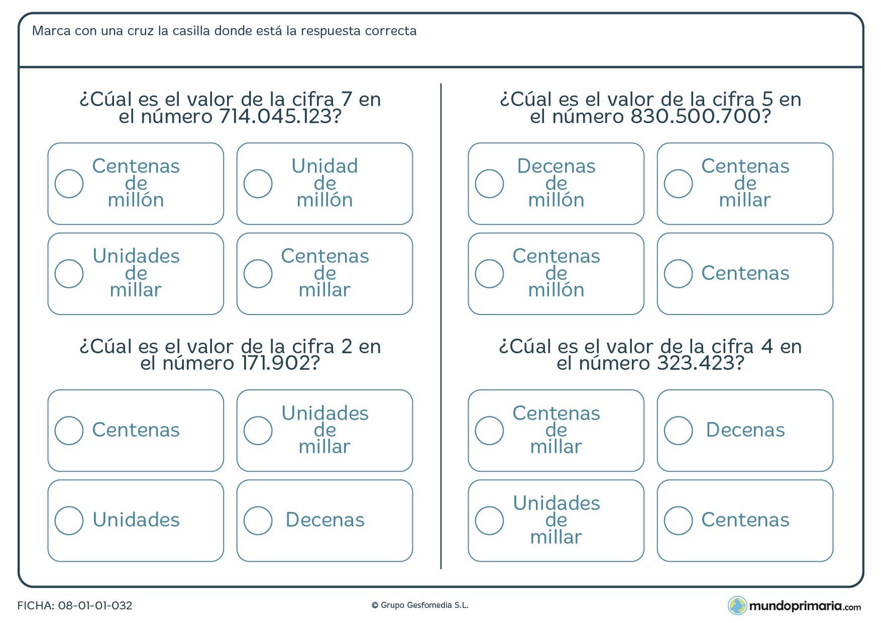 Ficha para indicar el valor que tiene la cifra indicda para Primaria
