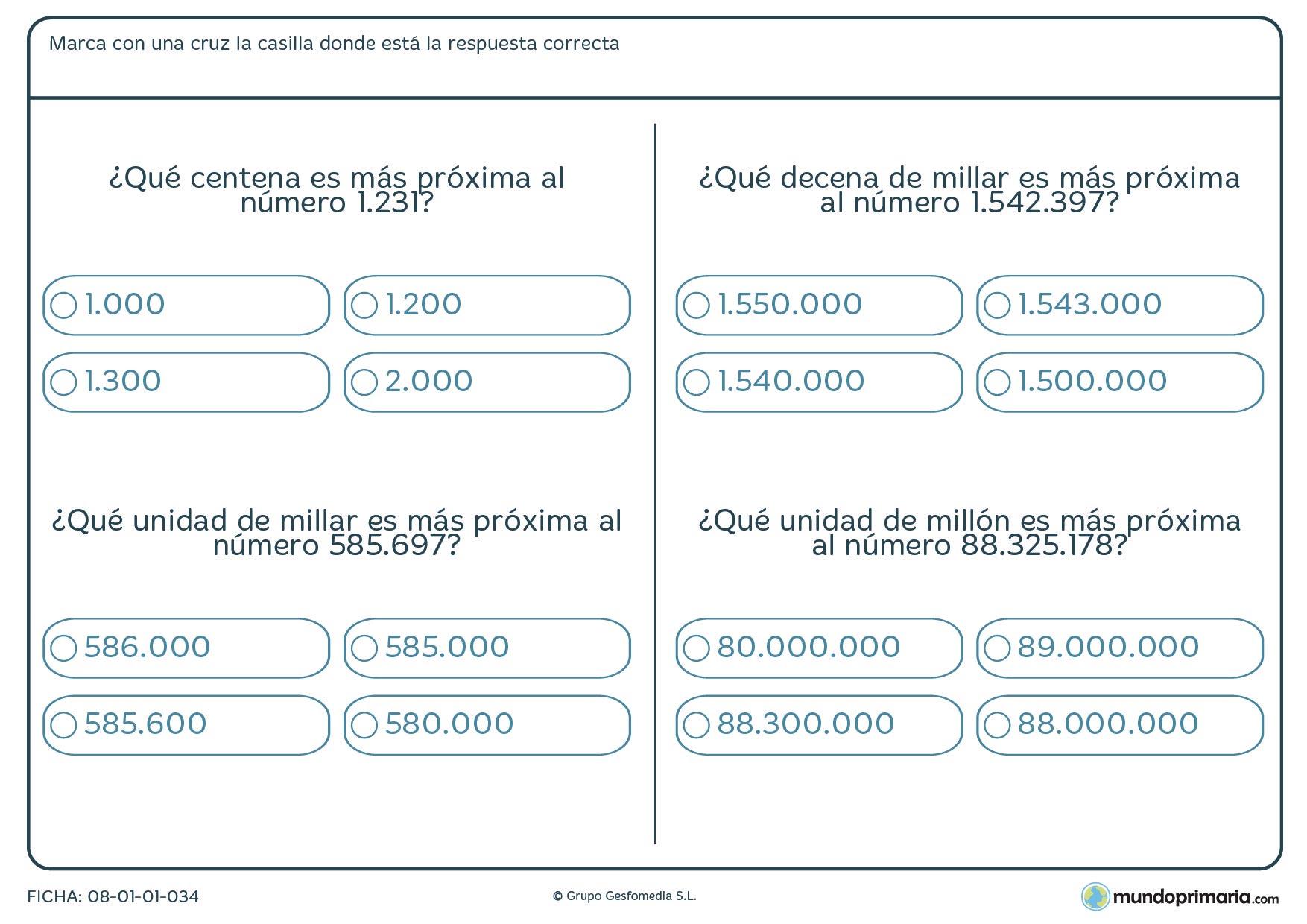 Ficha de aproximación del número posicional indicado para Primaria