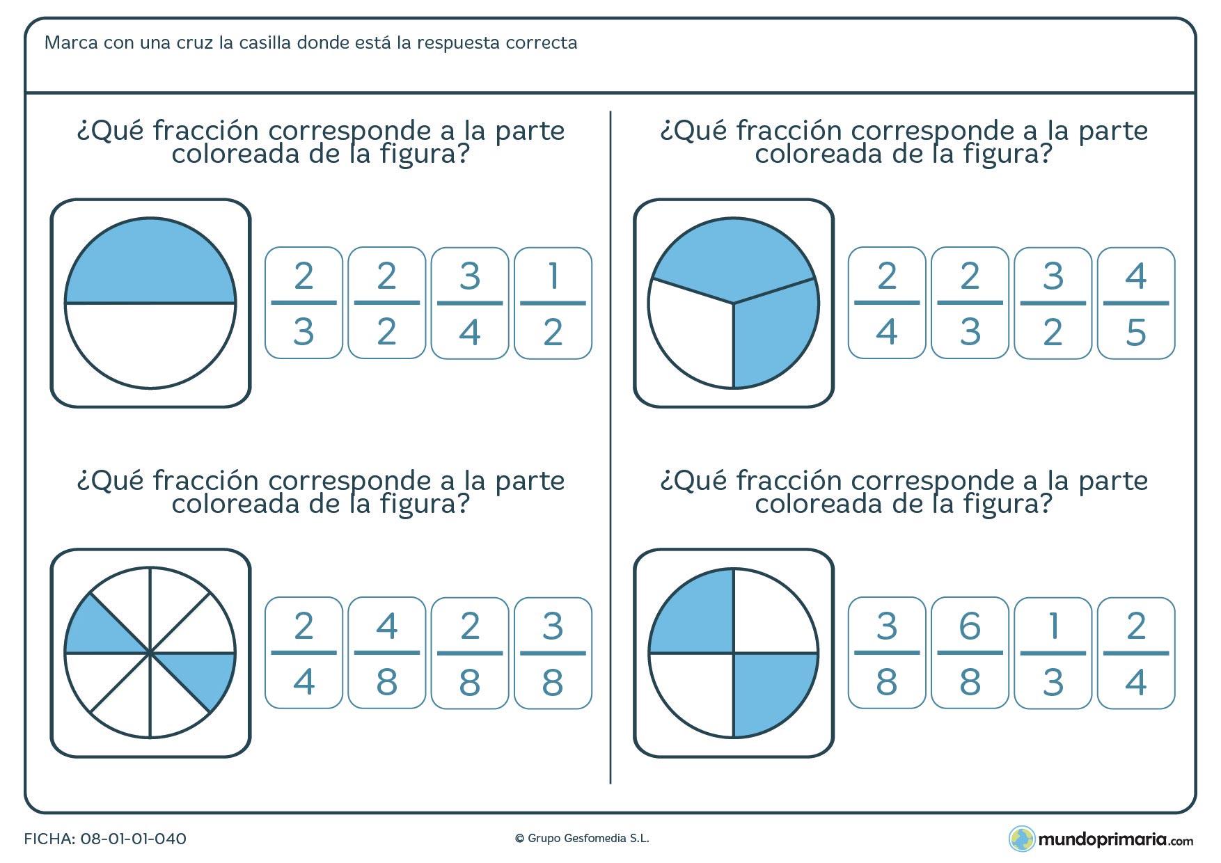 Ficha con imágenes que representan la fracción a escoger para 6º