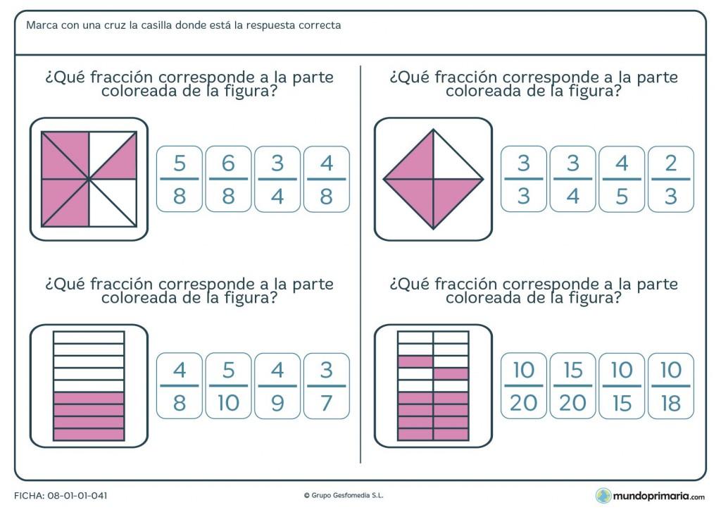 Ficha de fracciones representadas en imágenes para Primaria