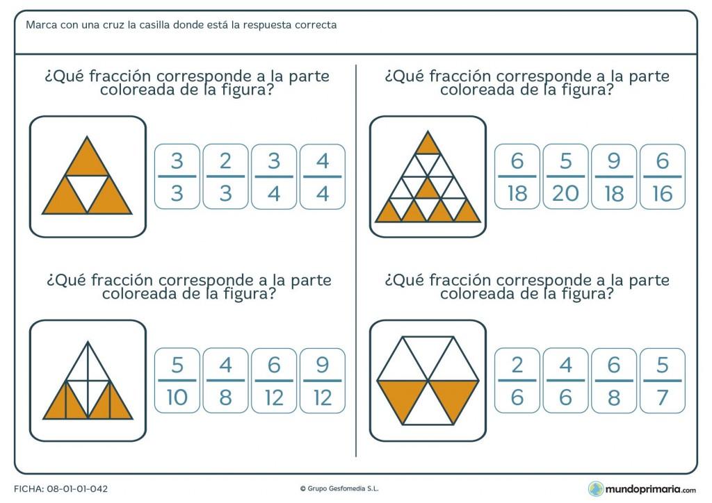 Ficha para indicar la fracción representada por la imagen para 6º