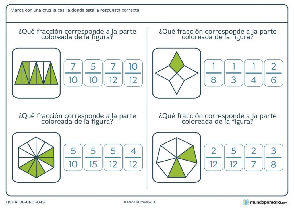 Ficha con triángulos coloreados para pasar a fracción para 6º