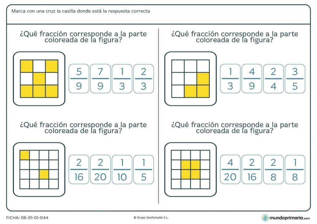 Ficha con cuadrados que forman una fracción poralumnos y alumnas de 6º