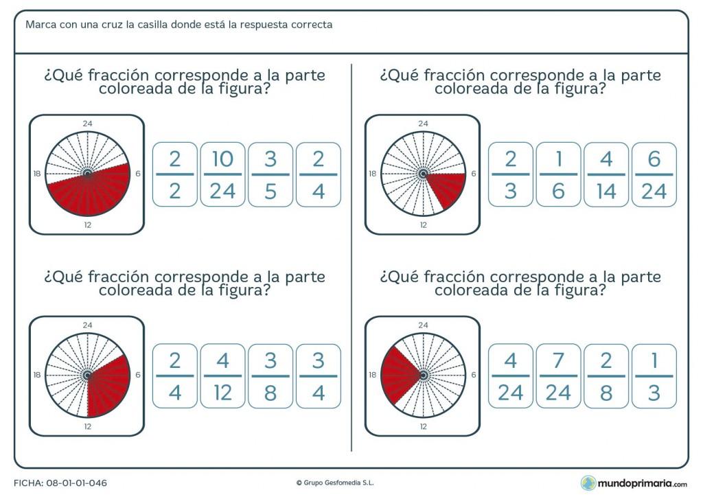 Ficha con círculos y fracciones para calcular por alumnos de 6º