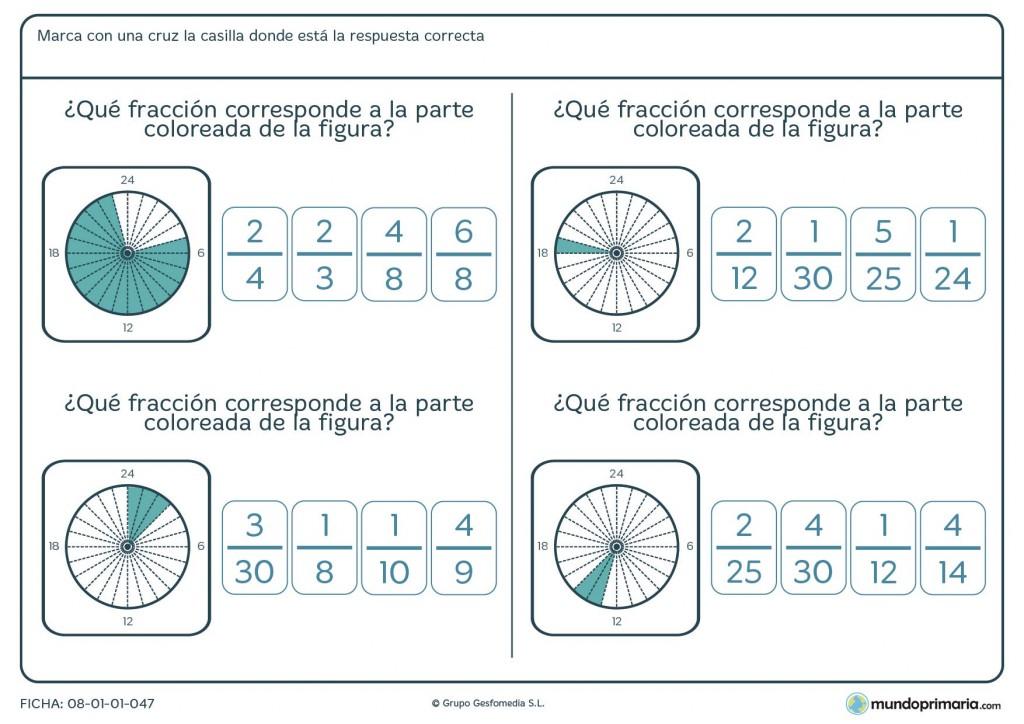 Ficha de indicar la fracción formada por lo coloreado del círculo 6º