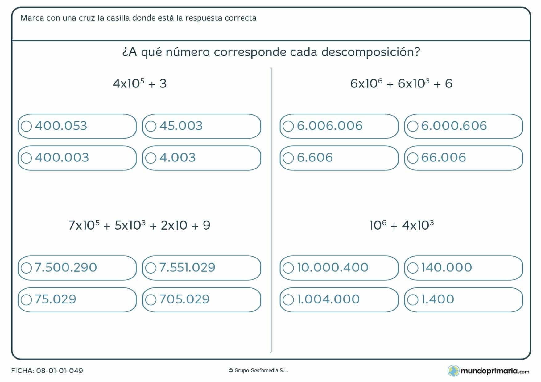 Ficha con potencias de 10 para resolver por alumnos y alumnas de 6º