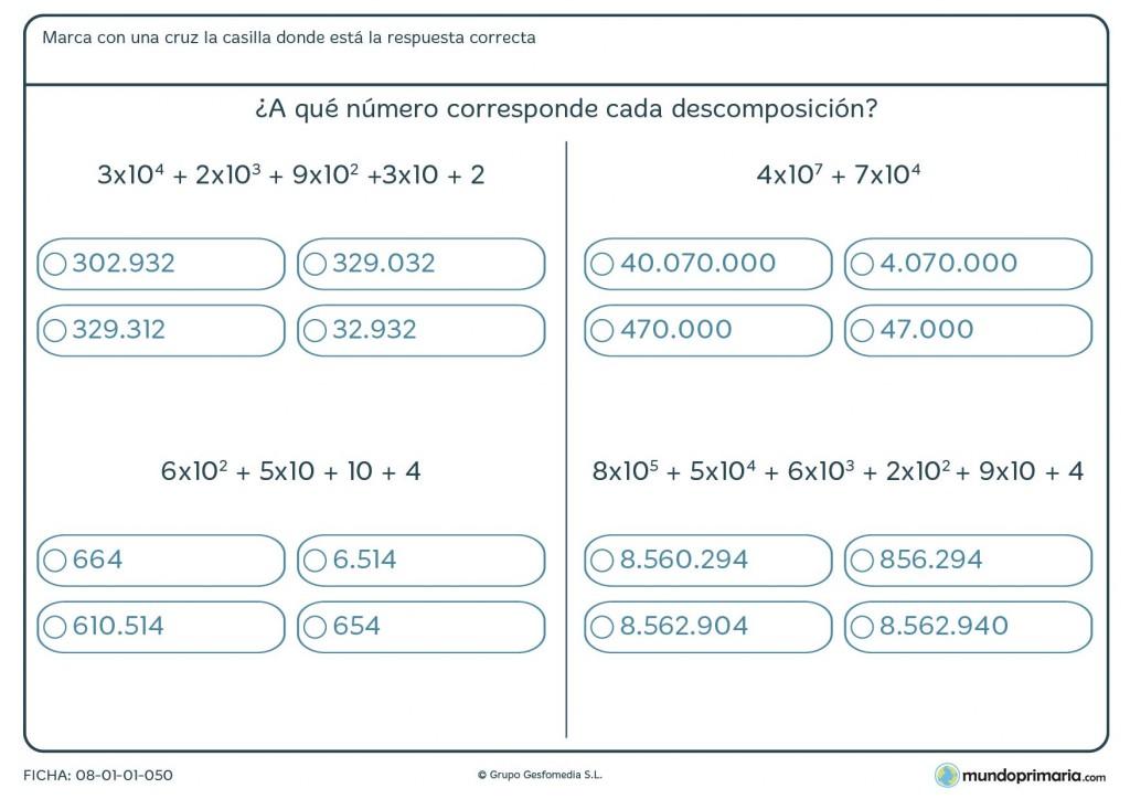 Ficha con suma de números con potencias de 10 para descomponer para 6º