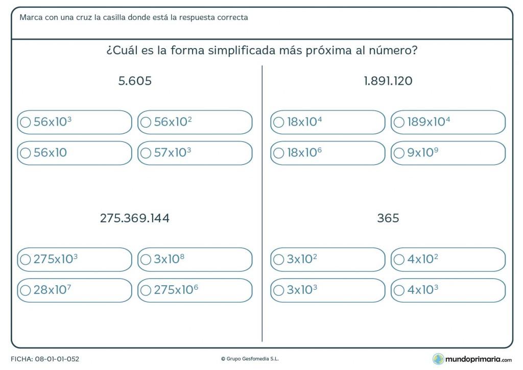 Ficha para simplificar números mediante las potencias de 10 para sexto