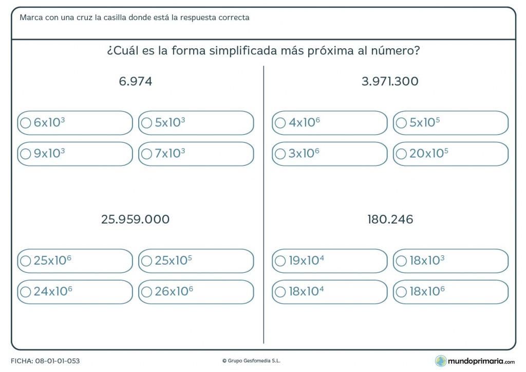 Ficha para redondear números largos con potencias de diez por 6º