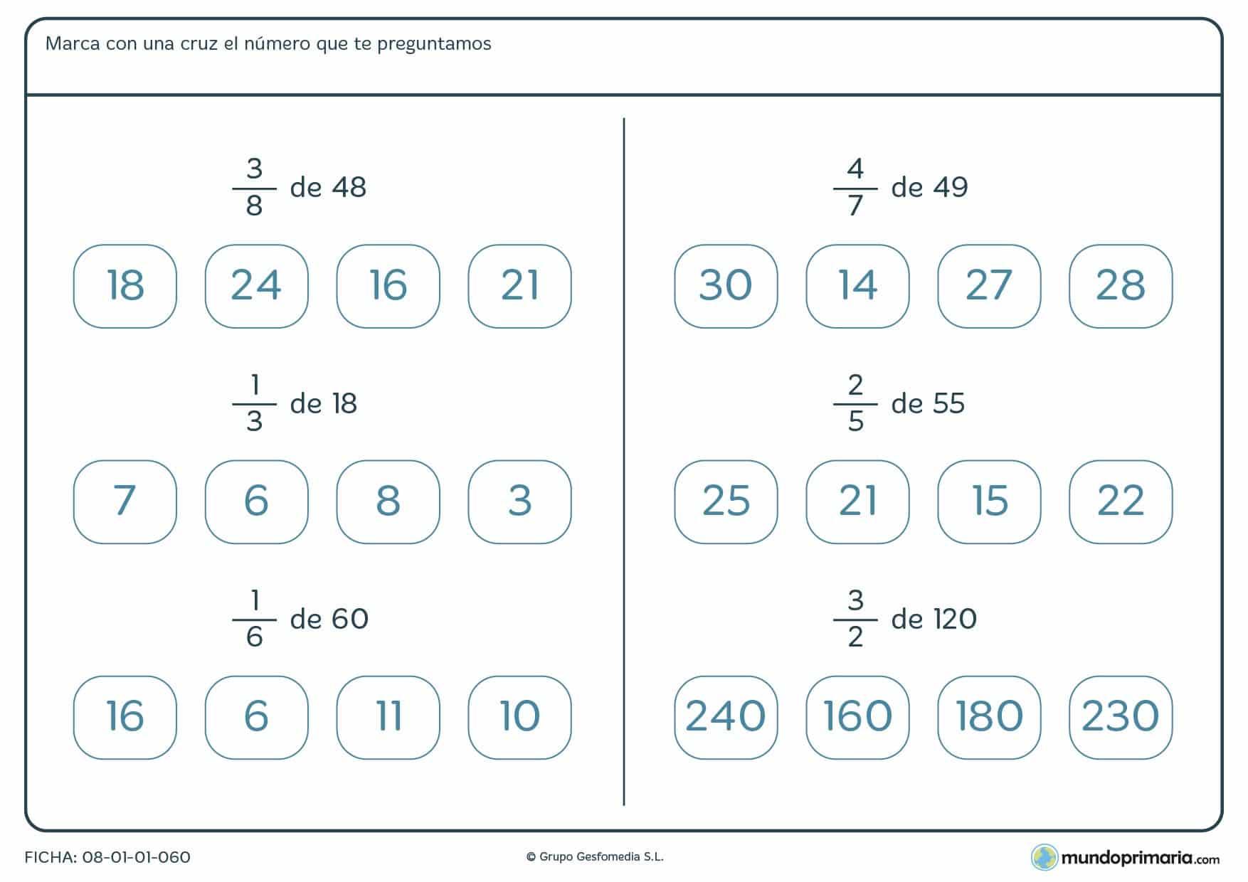 Ficha con fracciones de un número para indicar el resultado por 6º